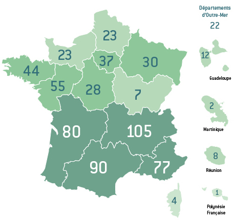 Carte de France : nombre d'établissements labellisés par région