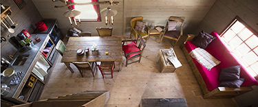The Feather Down log cabin interiors from above